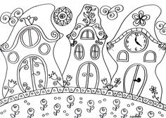 Virágos manóházak Free Coloring Pages, Printable Coloring, Coloring Books, Mandala Pattern, Pattern Art, Doodle Drawings, Doodle Art, Applique Patterns, Stitch Patterns