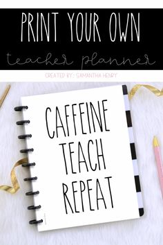 I'm excited to show you all how easy and cost effective it is to make your own teacher planner or binder at home! Teacher Binder Organization, Teacher Hacks, Organized Teacher, Teacher Office, Teachers Toolbox, Teacher Resources, Happy Teacher Planner, Printable Teacher Planner, Bujo