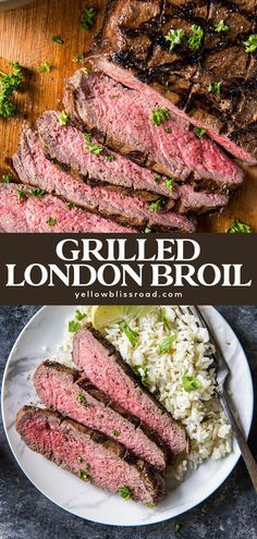 London Broil is a cut of beef that's marinated then and grilled over a high heat. This tender, juicy steak is a budget friendly yet classy weeknight meal. Meat Recipes For Dinner, Beef Recipes, Chicken Recipes, Cooking Recipes, Grill Recipes, Skillet Recipes, Cooking Gadgets, Pizza Recipes, Yummy Recipes