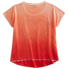 Mudd Heart Stud Ombre Sublimated Tee - Girls 7-16