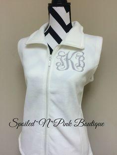 Monogrammed Fleece Vest for Women by SpoiledNPinkBoutique on Etsy