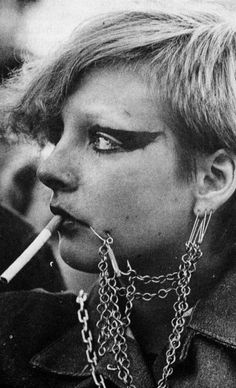 Old school! A punk fan at a Clash gig, circa 1977.