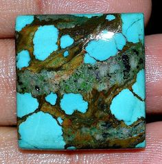 46.00Cts.100%NATURAL TIBET TURQUOISE CUSHION CABOCHON TOP QUALITY LOOSE GEMSTONE #handmade
