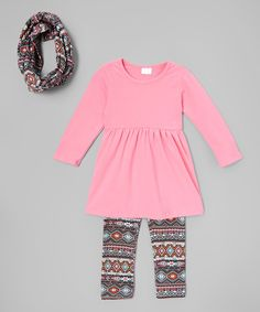 Look at this Pink & Black Geometric Dress Set - Toddler & Girls on #zulily today!