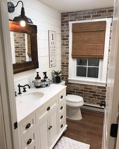Best Rustic Bathroom Decor Ideas to Attempt in Your Home - Kids Bathroom Ideas – Enhancing kids washroom can be extremely fun. Every edge of the washroom ha - Bathroom Kids, Bathroom Renos, Master Bathroom, Brick Bathroom, Bathroom Wall Ideas, Brick Wallpaper Bathroom, Bathroom Designs, Ikea Bathroom, Bathroom Vanities