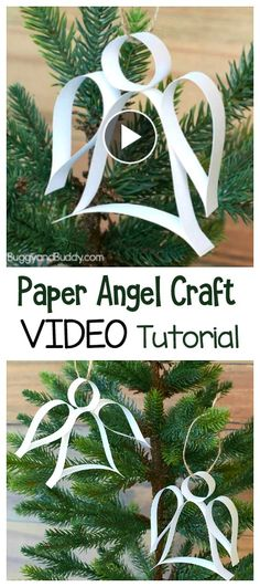 Learn how to make this easy Christmas Ornament Craft for Kids in this VIDEO tutorial: DIY Paper Strip Angel Ornament! (Includes free printable template) These homemade are perfect to do last minute. Great for kids of all ages and adults! ~ BuggyandBuddy.c