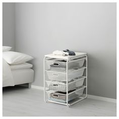 IKEA - ALGOT, Frame with 4 mesh baskets/top shelf, The parts in the ALGOT series can be combined in many different ways and easily adapted to your needs and space.When you complete your ALGOT frame with baskets from the same series you have a smart storage solution that fits anywhere in your home.Can also be used in bathrooms and other damp indoor areas.With ALGOT top shelf, you can create a practical extra work surface on all frames in the same series.Also stands steady on an uneven fl...