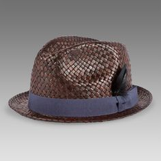 Paul Smith Hats - Brown Straw Feather Trilby Hat - afxa-688a-h85-c