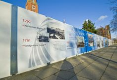These hoardings show a timeline of the Town Hall project and were created using gloss laminated self-adhesive vinyl, installed onto solid hoardings around Trafford Town Hall in Manchester. They were designed by 5 Plus Architects, and printed and installed by gocre8.