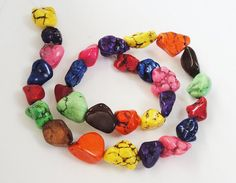 Multicolored Chunky Magnesite Turquoise Nuggets by BijiBijoux, $8.95