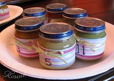 Guess the baby food!  Awesome baby shower game! we had camo theme and put camo duct tape around them instead :) Baby Girl Camo, Camo Baby Stuff, Baby Shower Gender Reveal, Baby Shower Themes, Shower Ideas, Baby Shower Camo, Baby Shower Gifts, Juegos Baby, Tiffany Baby Showers