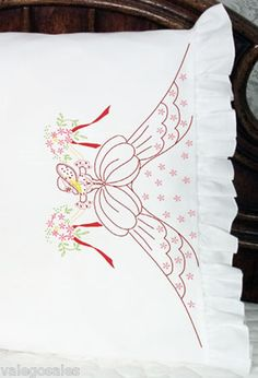 Fairway Stamped #Embroidery BOUQUET LADY #Pillowcases ♥ #ebay #sale #floral…