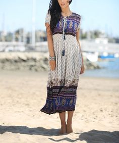 Loving this Beige & Blue Baroque Short-Sleeve Paisley Midi Dress - Plus Too on #zulily! #zulilyfinds