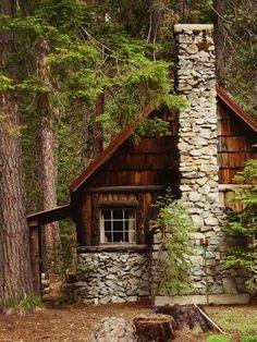 Cedar shake cabin & rock fireplace
