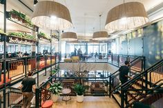 How WeWork Experiments On Itself to Advance the Field of Office Design,WeWork's designers think of the giant staircase that connects three floors of its headquarters as a series of occasional meeting spaces, but also as a kind of indoor park. Image © Lauren Kallen