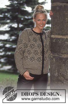 DROPS jakke i Silke-Tweed eller Alpaca med nordiske grafisk roser Knitting Patterns Free, Free Knitting, Crochet Patterns, Stitch Patterns, Cardigan Design, Knit Cardigan, Sweater, Tweed, Drops Design