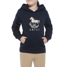 Destined to be a young equestrian�s favorite pullover. Tailored from cotton blend fleece, with a horse design on the front, metallic embroidery and kangaroo hand pockets.