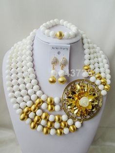 Glamorous Nigerian Bead Necklaces Wedding White Giant clam Beads Jewelry Set African Beads Jewelry Set CWS1091 $108.61