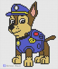 Discover thousands of images about Paw Patrol Pattern - Chase PAW Patrol perler pattern Patrones Beads Plantillas Cross Stitching, Cross Stitch Embroidery, Cross Stitch Patterns, Pearler Bead Patterns, Perler Patterns, Beading Patterns, Embroidery Patterns, Crochet Patterns, Art Patterns