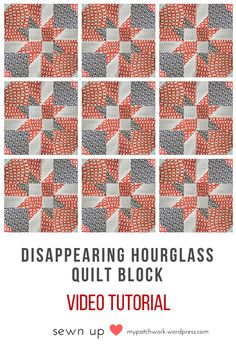 2-minute video tutorial: Disappearing hourglass quilt block - variation 2