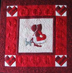 Sunbonnet Sue BOM - February Quilt Pattern PCG-2122 (advanced beginner, wall hanging and banners)