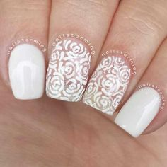Pretty rose outline/lace design for nails