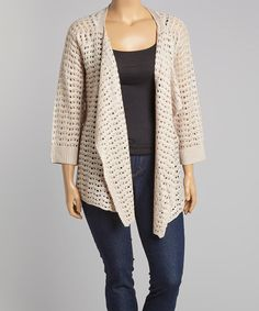 Another great find on #zulily! Stone Crochet Open Cardigan - Plus by Allie & Rob #zulilyfinds