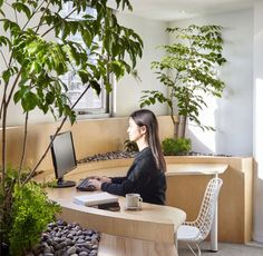 Office reconstruction by Muxin Design and Research Studio. Creative workspace and office interior design idea. Office Interior Design, Office Interiors, Interior Design Inspiration, Office Designs, Office Ideas, Office Decor, Zen Office, Home Office, Office Spaces