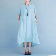 Women summer linen short sleeve dress