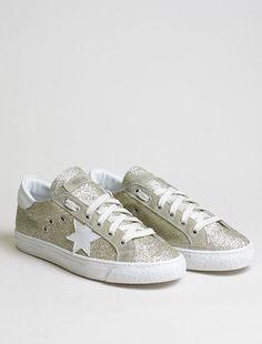 Stokton Sneakers Glitter oro, Sneakers Donna, spedizione gratuita italia