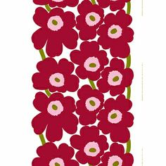 The design company Marimekko created their bold poppy pattern Unikko 50 years ago. Today, you can see the flowers on everything from bath towels to airplanes. Textures Patterns, Print Patterns, Floral Patterns, Marimekko Fabric, Poppy Pattern, White Cherries, Cute Cartoon Wallpapers, Repeating Patterns, Flower Designs