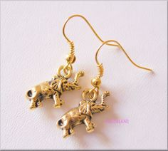 Gold coloured Lucky  Elephants Charms Earrings, 3D, Vintage Gold £3.00