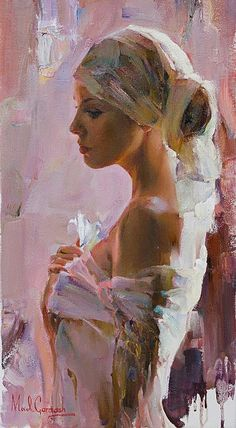 Artists: Michael and Inessa Garmash, oil on canvas {contemporary figurative beautiful female flower young woman face profile portrait cropped painting #loveart}