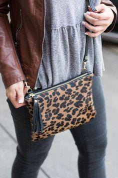 f4c05356633d Leopard Crossbody - Cowhide Bag - Black Leather with Animal Print Fur  Clutch - Jaguar,