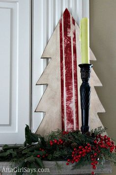 French grain sack wooden Christmas tree from AttaGirlSays.com Christmas mantel