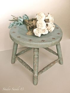 Studio Swede 13, French Country Photography, Fine Art, Vintage Stool, Milking Stool, Shabby and Chic, Rustic Farmhouse, Blue, Roses, Fleur De Lis, Wall Art.