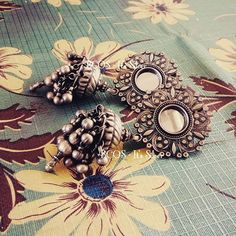 Back in stock Pure silver glass earstud paired up with tribal jhumka #tribal #tribaljhumkas #jhumk #jhumka #bcositssilver 5900rs