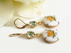 Yellow Rose Earrings Gold Filled Porcelain Earrings Gift for Best Friend Summer Earrings Mother's Day Gift Wrap Perfect Gift For Mom, Gifts For Mom, Great Gifts, Handmade Bracelets, Handmade Jewelry, Earrings Handmade, Handmade Gifts, Rose Earrings, Dangle Earrings