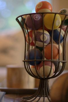 What a neat way to display my pool ball collection. What a neat way to display my pool ball collection. Attic Game Room, Attic Playroom, Attic Rooms, Attic Library, Attic Bathroom, Attic Apartment, Library Bedroom, Bedroom Decor, Attic Closet
