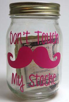Mustache Piggy Bank Savings Jar My Stache by ThePoshShoppe on Etsy, $8.00