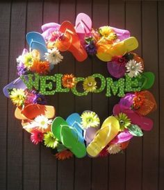 Cutest Flip Flop Wreath I've seen! The wreath is a grapevine wreath from Hobby Lobby, wood letters from Summertime Wreath. Hobby Lobby are painted, flowers came from Hobby Lobby, and one dollar flip flops from Old Navy Wreath Crafts, Diy Wreath, Door Wreaths, Grapevine Wreath, Wreath Ideas, Wreath Making, Creative Crafts, Fun Crafts, Diy And Crafts