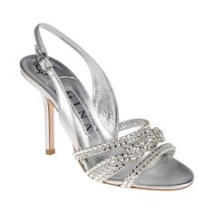 A GINA classic - intricately woven Swarovski crystal diamante, in soft metallic silver leather offered here on a stiletto 100mm heeled sandal.