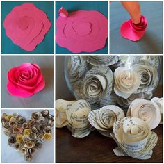 Here is a nice DIY tutorial on how to make paper rosein an easy way. Even if you are not good at crafts, with a little bit of cutting, rolling and pasting, you can still make these beautiful paper rosesto decorate a study desk, living room or your kitchen space …