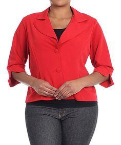 Look what I found on #zulily! Red Button-Up Blazer - Plus #zulilyfinds