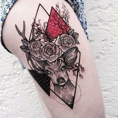 Tattoo on the thigh of the girl — deer, rose and triangles. This and other interesting photos on tattoozza.com/