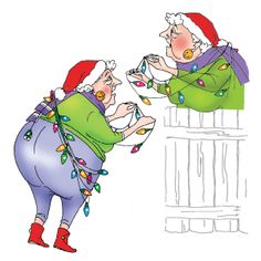 Fanny Front and Back is trying to help put up Christmas lights.Goes perfect with Tangled Bob, I1791Set of 2