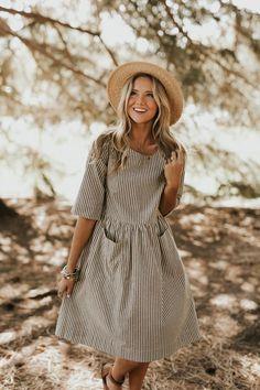 Cotton Stripe Dress w/Patch Pockets | ROOLEE