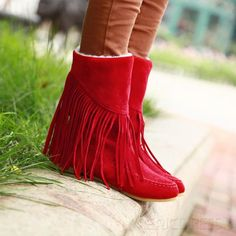 Suede leather tassel boots light red shoes 1