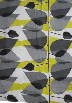 Vintage mid-century leaf print barkcloth fabric   eBay