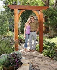An arch made from six parts - http://www.familyhandyman.com/DIY-Projects/Outdoor-Projects/Garden/Garden-Projects/build-a-garden-arch/Step-By-Step